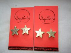 Wee Wooden Earrings - Stud - Post Earrings - Wooden Stars by SquintyStuff, £4.00 #Etsy #Handmade #GlasgowEtsy