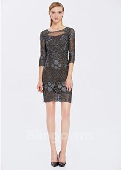 Embroidery Jewel Lace Full Back Sheath Short Length Sleeves Homecoming / Prom Dresses Cheap Cocktail Dresses, Prom Dresses, Formal Dresses, Homecoming, Jewels, Embroidery, Lace, Sleeves, Fashion