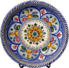 Hand-painted ceramic tapas plate from Spain