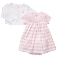 2-Piece Pink Striped Dress Set