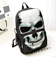 Women Men Design Canvas Backpack Female Male Skull Printing Travel Backpack Bag