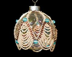 Peace on Earth hand beaded Christmas Ornament 25 by GallopingGlass, $55.00
