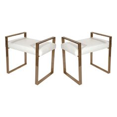 Pair of Brass Benches by Charles Hollis Jones #HR-84, Signed   From a unique collection of antique and modern benches at https://www.1stdibs.com/furniture/seating/benches/