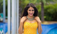 Lavanya Tripathi Latest Hot Sleveless PhotoShoot Images In Yellow Skirt  actress Lavanya Tripathi