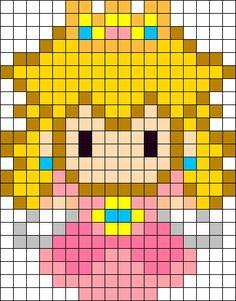 Princess Peach Sprite Perler Bead Pattern / Bead Sprite