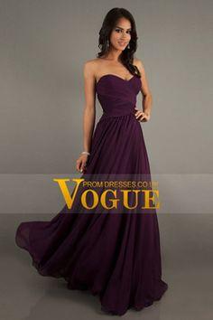 Shop Cheap New Arrival A Line Sweetheart Floor Length Chiffon Prom Dresses Ruffles - VoguePromDressesUK for mobile