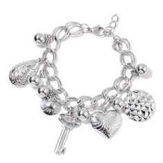 Heart and Multi Charms Bracelet (Size 7.5 with 1 inch Externder) in Stainless Steel