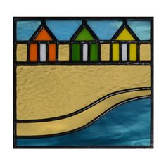Beach Huts. Designed and made by Radiance Stained Glass.