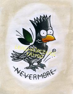 "The Simpsons Raven Bart inspired 20.5cm x 14.5cm ""Nevermore"" traditional tattoo…"