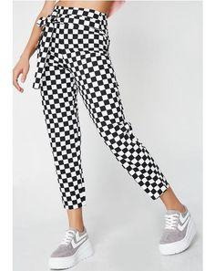Checkered Tie Trousers   #dollskill #lovetootrue #newarrivals #plaid #gingham