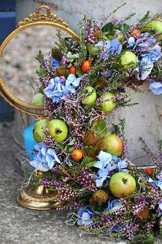 colorful and organic wreath design