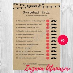 Svatební kvíz č. 1 - svatební zábava k tisku / Zboží prodejce Zuzana Atanasov | Fler.cz Wedding Games, Wedding Tips, Wedding Details, Wedding Planning, Dream Wedding, Autumn Wedding, Party Themes, Diy And Crafts, Wedding Decorations