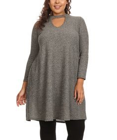Look what I found on #zulily! Gray High-Neck Keyhole Shift Dress - Plus by Poliana Plus #zulilyfinds