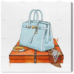 Artwork 'My Bag Collection I' features print of Blue Fashion and Glam. Unique Handbags with vivid Pastel Blue hues make this Glam style the perfect decor for your home or office. Oliver Gal was voted Best in Wall Art! Canvas Art Prints, Canvas Wall Art, Drawing Bag, Drawing Sketches, Bag Illustration, Couture Handbags, Oliver Gal, Home Wall Decor, Pink Aesthetic
