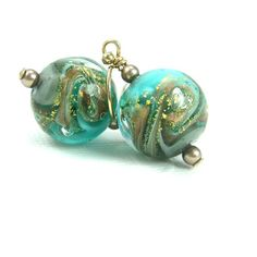 Ocean wave earrings, Beach jewelry gift, Ocean earrings, Sea green gold Murano glass earrings, Venetian glass jewelry, Nautical earrings