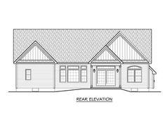 Ranch Rear Elevation of Plan 54075