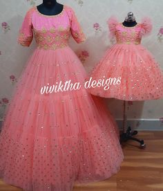 Mom Daughter Matching Outfits, Mommy Daughter Dresses, Mom And Baby Dresses, Mother Daughter Fashion, Dresses Kids Girl, Baby Girl Birthday Dress, First Birthday Dresses, Baby Frocks Designs, Kids Frocks Design