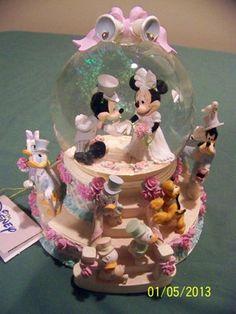 Disney Musical Snow Globe Mickey and Minnie Wedding | eBay