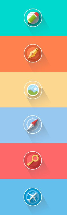"Nicely done example of the ""flat"" style icons with the angled cast shadows so…"