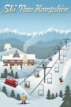 New Hampshire Retro Ski Resort 24x36 Giclee Gallery Print Wall Decor Travel Poster -- To view further for this item, visit the image link. (This is an affiliate link)