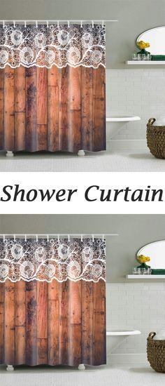 Unique Lace Woody Door Shower Curtain
