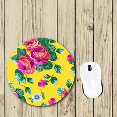 Floral Mousepad Round Mousepad Cute by foxandcloverboutique
