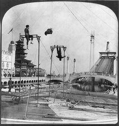 Trapeze performers, Dreamland, Coney Island - Brooklyn, NY. c.1900. ~ (Image: LOC) ~~ {cwl}