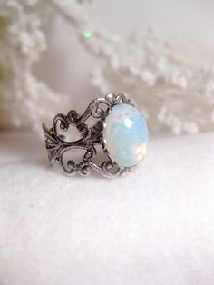 White Blue Fire Opal Ring Filigree Silver Adjustable Band.    **Please review shipping policies (International customers, especially)**