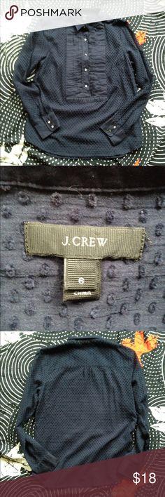 J. CREW tuxedo popover Navy. Sheer Swiss dot. Pleated tuxedo front. Popover styling. J. Crew Tops Blouses