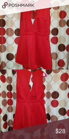 Red jumper shorts Super cute! Red short jumper with plunging neckline and back out. **** Never worn Dresses One Shoulder