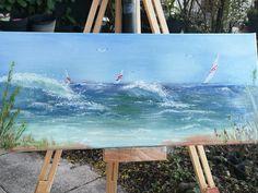 Seaside, Acrylmalerei auf Keilrahmen 25 X 60 , Resinoberschicht by Kathrine Rubel