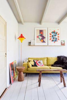 sofa, floors, wooden tables, art
