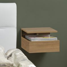 Bendt Hanging bedside table Cecilie with drawer Desk Wall Unit, Wall Units, Side Bed, Bed Side Lamps, Bed Stand, Side Tables Bedroom, Bedside Tables, Scandinavian Bedding, Small Space Interior Design