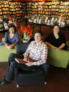 Jamie Fiocco, Land Arnold and Sarah Carr. Owners of Flyleaf Books in Chapel Hill, NC