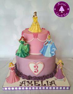 "2 tier Disney Princess cake. The top tier was a 5"" inch lemon madeira and bottom tier an 8"" vanilla madeira cake"