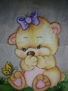 Fraldas Baby Painting, Fabric Painting, Kids Cartoon Characters, Cute Coloring Pages, Colouring, Rangoli Designs Diwali, Bear Illustration, Cute Teddy Bears, Machine Embroidery Applique