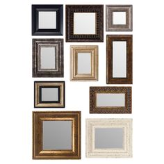 Ten decorative wall mirrors.Product: 10 Piece mirror setConstruction Material: Mirrored glass  Color: ...