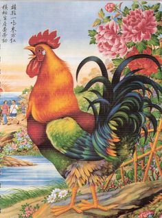 Luna Year of the Rooster Birds Painting, Wolf Photography, Asian Art, Animal Art, Art, Rooster Painting, Cartoon Rooster, Bird Art, Chicken Art