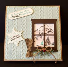 I created this wintertime card using the Mountain Adventure stamp set, Hearth…