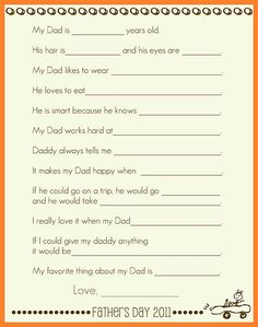 questions about Dad for Father's Day. I'm sure this would be hilarious. could easily re-create for a new year.  :)