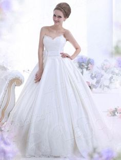 Ball Gown Sweetheart Chapel Train Satin Ivory Wedding Dress