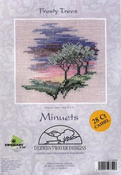Frosty Trees - Minuets - Cross Stitch Kit from Derwentwater Designs Cross Stitch Fruit, Cross Stitch House, Cross Stitch Pillow, Cross Stitch Tree, Mini Cross Stitch, Cross Stitch Cards, Cross Stitch Flowers, Cross Stitching, Cross Stitch Embroidery