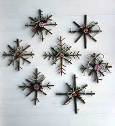 "We used to make a lot of ornaments when we were ""younger"".   Though this is a larger version, I think we can make them small enough to fit on the tree. Also nice outside on the porch rail.   http://www.littlethingsbringsmiles.com/2010/12/rustic-snowflakes.html"