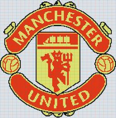 Manchester United Badge, Crocheted Blankets, C2c, Afghans, Plastic Canvas, Crochet Ideas, Cross Stitch Patterns, Charts, Beading