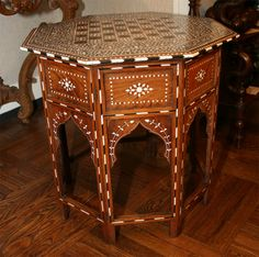 1stdibs.com | Ivory and Ebony Inlaid Octagonal Chess Table, India, 19th C. $11700