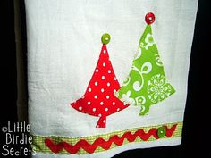 applique tea towel patterns | christmas applique tea towels | Little Birdie Secrets