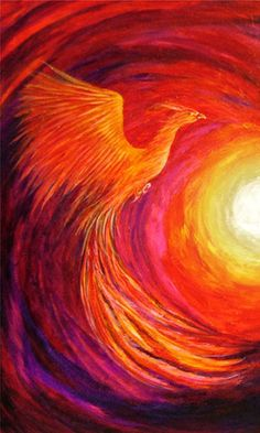 Phoenix Bird swirled into sunset painting, the brush strokes in the painting give interesting texture. Pintura Zen, Phoenix Painting, Phoenix Artwork, Painting & Drawing, Fire Painting, Painting Abstract, Acrylic Paintings, Bird Art, Mythical Creatures