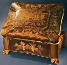 Large Antique Chinese Hand-Painted Gilt-Lacquered Wooden Box
