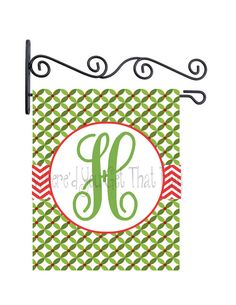Custom Personalized Yard Sign Christmas Green Circle