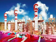 land scape kings dominion, 2013 by david lachapelle - scale models of refineries and gas stations